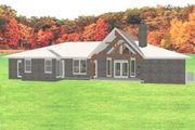 Ranch Style House Plan - 4 Beds 3 Baths 2374 Sq/Ft Plan #408-102 Exterior - Rear Elevation