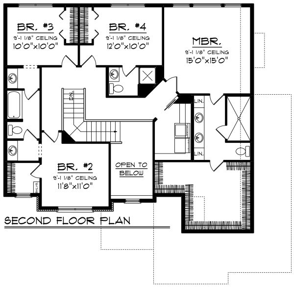 Craftsman Floor Plan - Upper Floor Plan Plan #70-1278