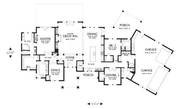 Ranch Floor Plan - Main Floor Plan Plan #48-712