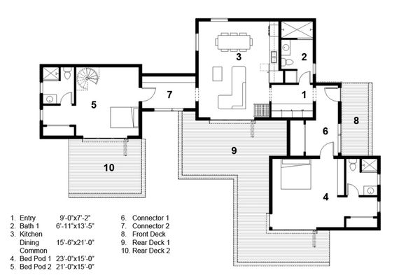 Modern Floor Plan - Main Floor Plan Plan #497-56