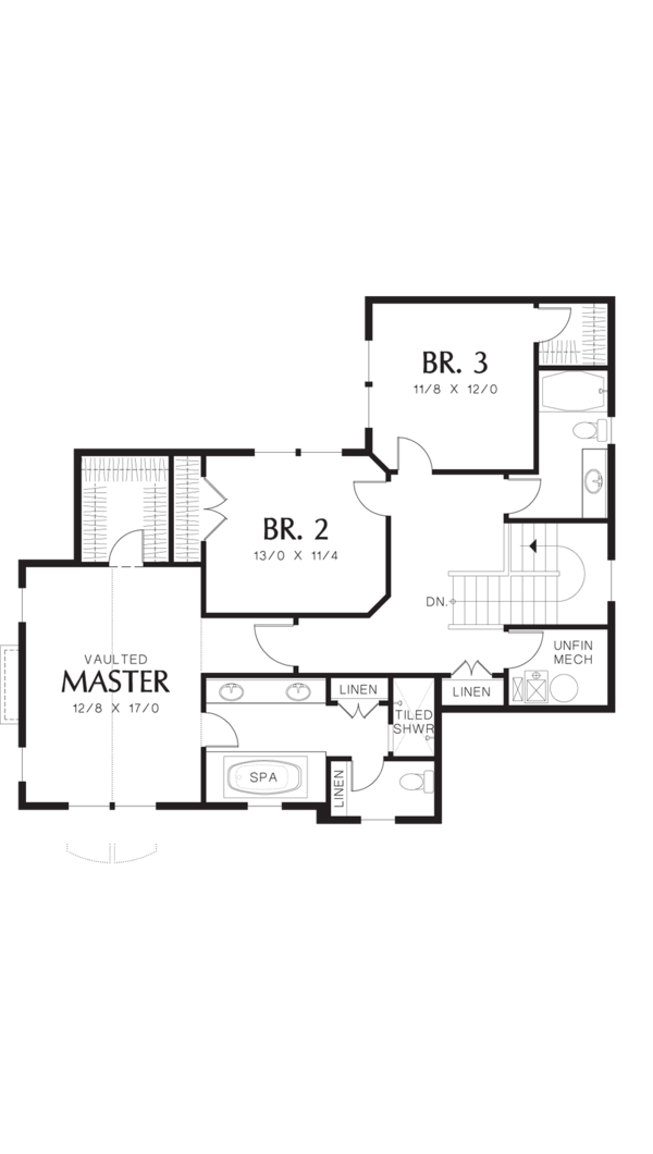 Craftsman Floor Plan - Upper Floor Plan Plan #48-577
