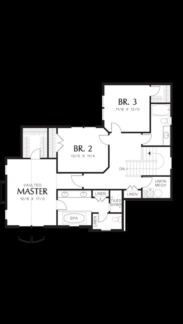 Craftsman Floor Plan - Upper Floor Plan Plan #48-577