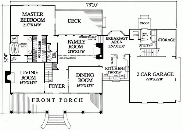 Southern Floor Plan - Main Floor Plan Plan #137-149