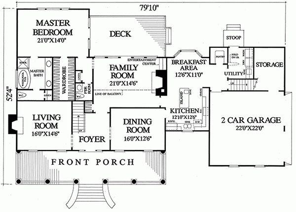 Home Plan - Southern Floor Plan - Main Floor Plan #137-149