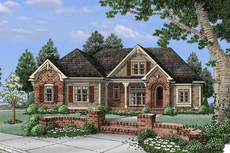 European Exterior - Front Elevation Plan #927-15