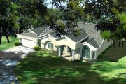 Mediterranean Style House Plan - 3 Beds 3 Baths 2097 Sq/Ft Plan #1-1008 Exterior - Front Elevation