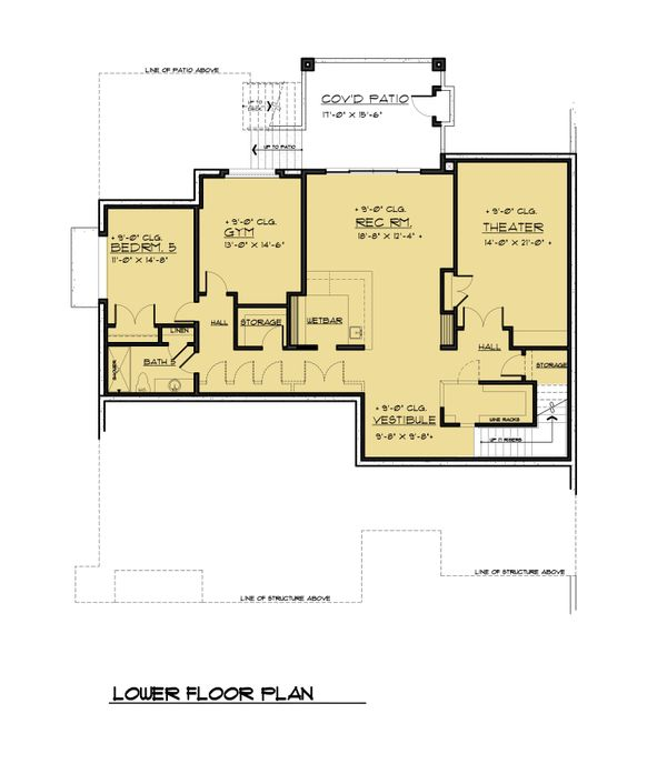 Contemporary Style House Plan - 5 Beds 5.5 Baths 6302 Sq/Ft Plan #1066-56 Floor Plan - Lower Floor Plan