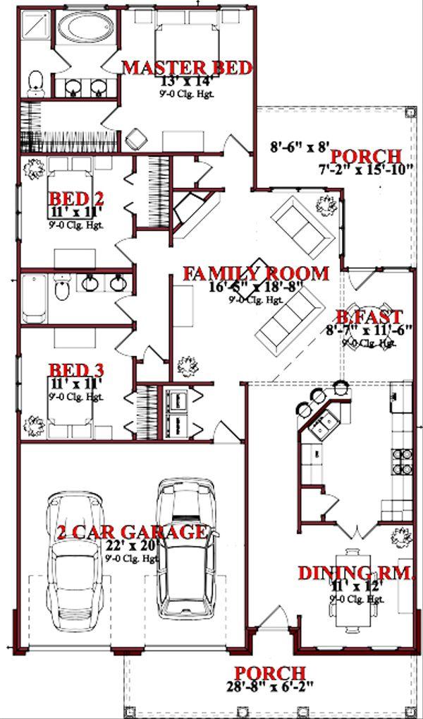 Traditional Floor Plan - Main Floor Plan Plan #63-239