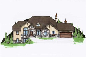 European Exterior - Front Elevation Plan #5-190