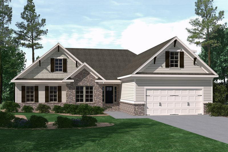 Ranch Style House Plan - 3 Beds 3.5 Baths 2620 Sq/Ft Plan #1071-16 Exterior - Front Elevation