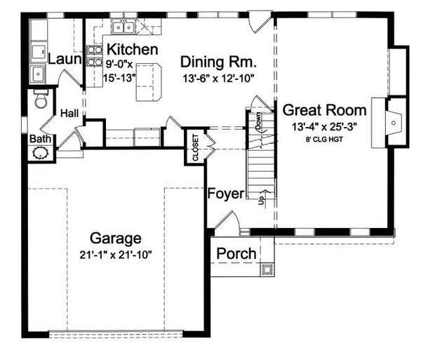 Traditional Floor Plan - Main Floor Plan Plan #46-495