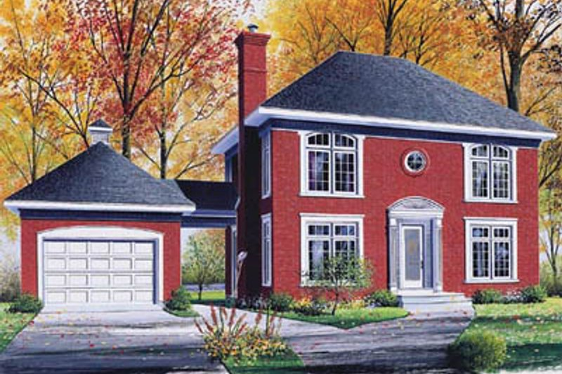 European Style House Plan - 3 Beds 1.5 Baths 1748 Sq/Ft Plan #23-2128 Exterior - Front Elevation