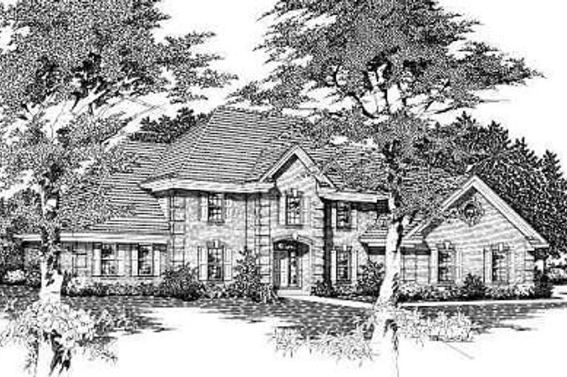 European Style House Plan - 4 Beds 3 Baths 2826 Sq/Ft Plan #329-273 Exterior - Front Elevation