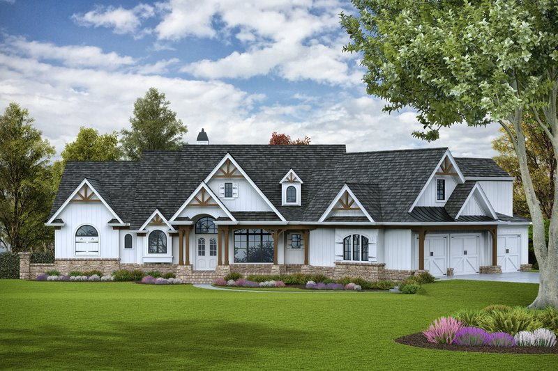 Craftsman Style House Plan - 3 Beds 3 Baths 3642 Sq/Ft Plan #54-391 Exterior - Front Elevation