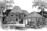European Style House Plan - 4 Beds 3.5 Baths 3682 Sq/Ft Plan #15-226 Exterior - Front Elevation