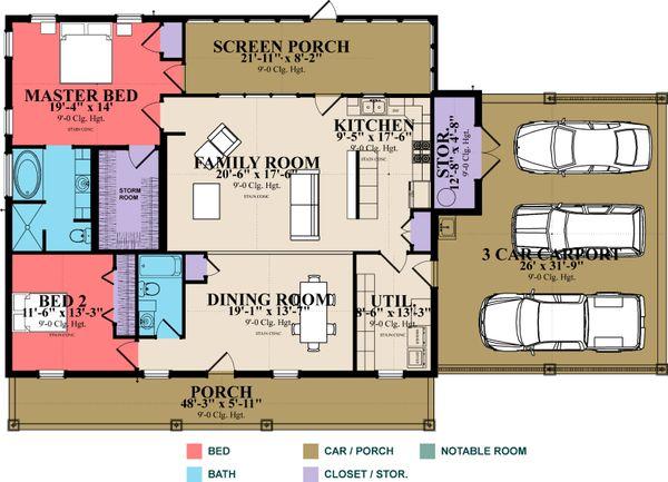 Country Floor Plan - Main Floor Plan Plan #63-394
