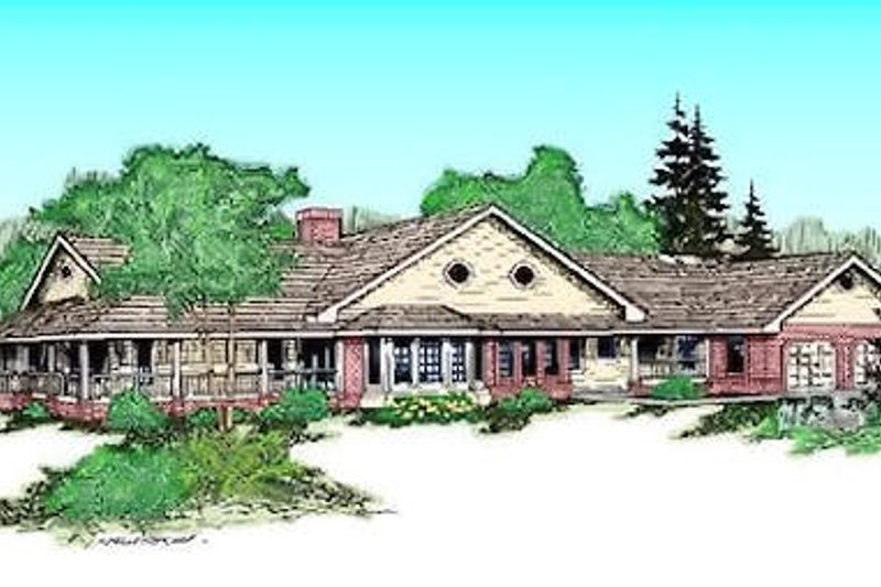 Ranch Exterior - Front Elevation Plan #60-221