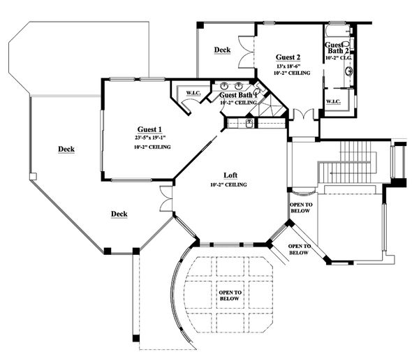 Mediterranean Floor Plan - Upper Floor Plan Plan #930-15