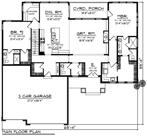 House Plan Design - Ranch Floor Plan - Main Floor Plan #70-1461