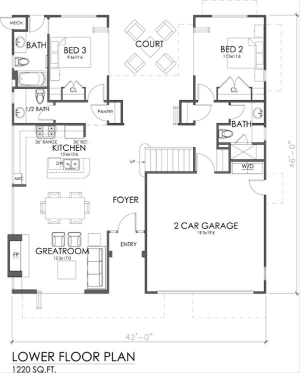 Modern Style House Plan - 3 Beds 3.5 Baths 1845 Sq/Ft Plan #484-2 Floor Plan - Main Floor Plan