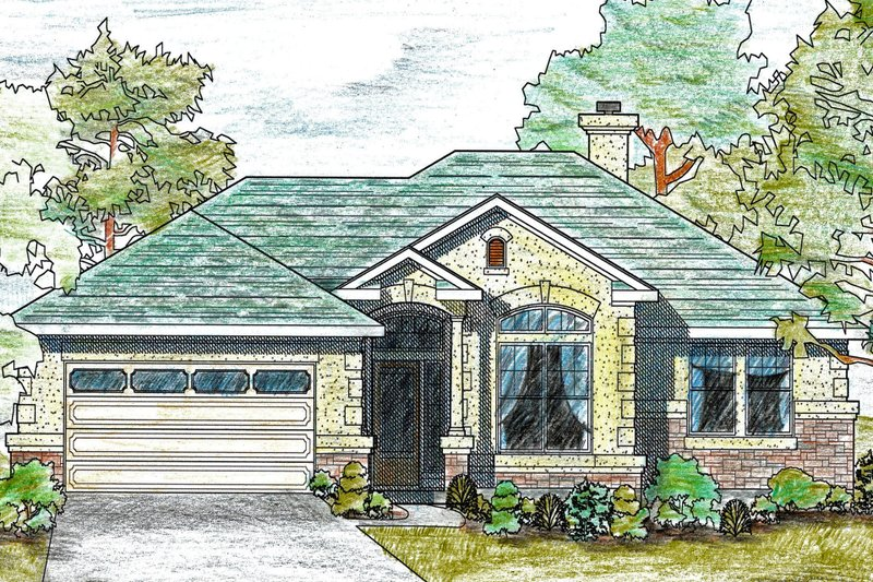 Traditional Style House Plan - 3 Beds 2.5 Baths 1561 Sq/Ft Plan #80-109 Exterior - Front Elevation