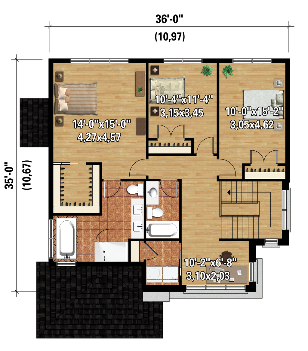 Contemporary Style House Plan 3 Beds 2 Baths 2163 Sq Ft