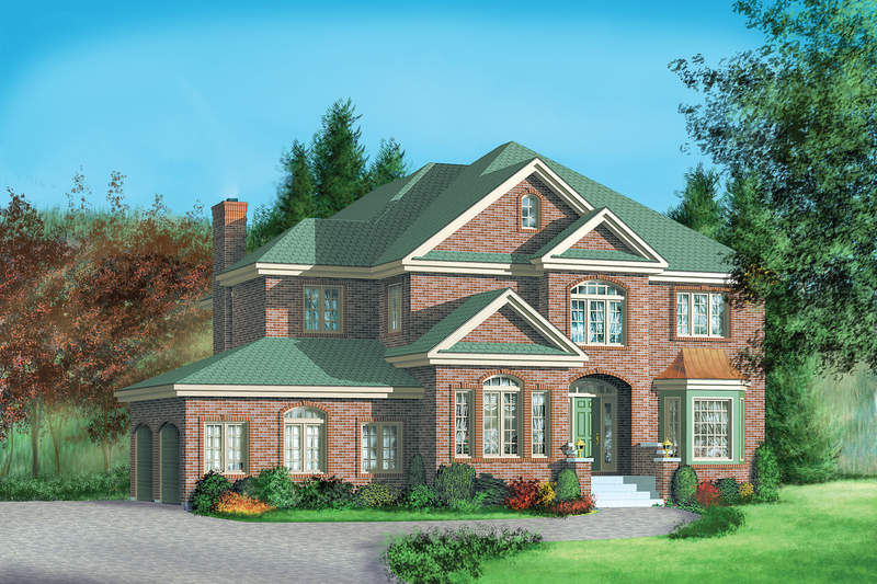 European Style House Plan - 4 Beds 3.5 Baths 3966 Sq/Ft Plan #25-2171 Exterior - Front Elevation