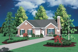 Cottage Exterior - Front Elevation Plan #48-587