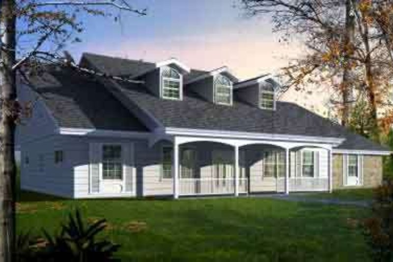 Country Style House Plan - 4 Beds 2.5 Baths 2530 Sq/Ft Plan #1-1477 Exterior - Front Elevation