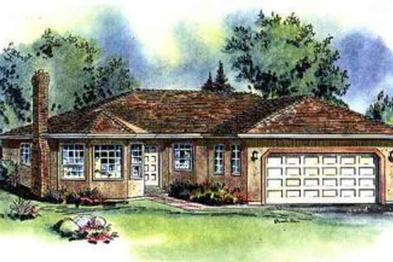 Architectural House Design - Ranch Exterior - Front Elevation Plan #18-107