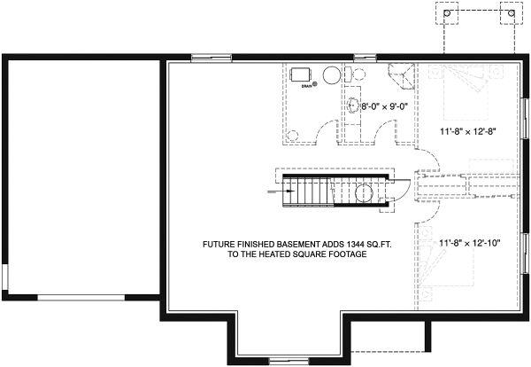 Home Plan - Country Floor Plan - Lower Floor Plan #23-2721
