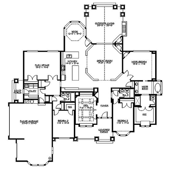 Craftsman Floor Plan - Main Floor Plan Plan #132-205