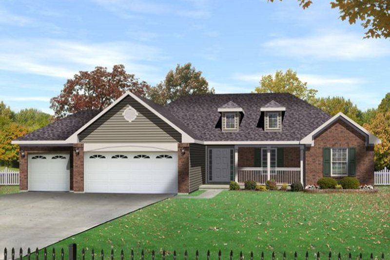 Country Style House Plan - 3 Beds 2.5 Baths 1635 Sq/Ft Plan #22-471 Exterior - Front Elevation