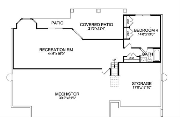 Craftsman Floor Plan - Lower Floor Plan Plan #456-29