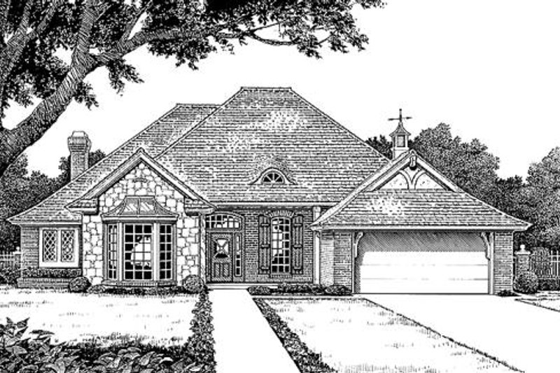 European Style House Plan - 4 Beds 2.5 Baths 2297 Sq/Ft Plan #310-882 Exterior - Front Elevation