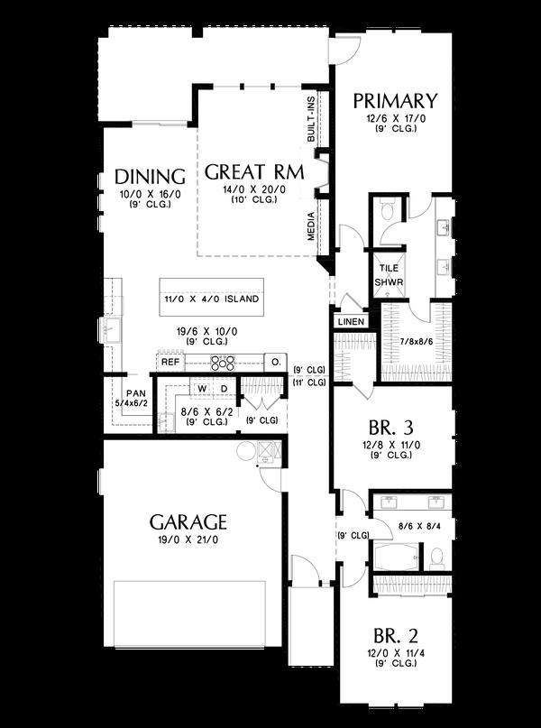 Contemporary Floor Plan - Main Floor Plan #48-1030