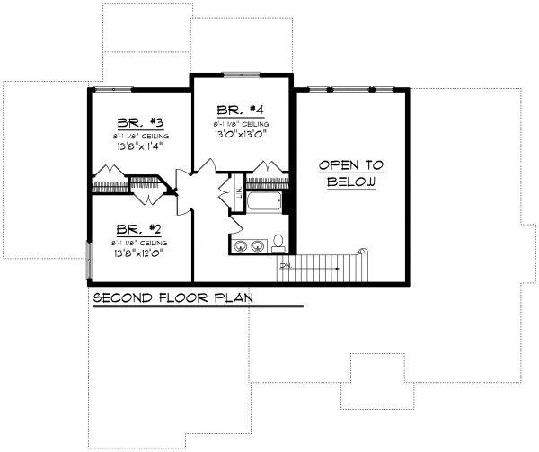 European Floor Plan - Upper Floor Plan Plan #70-1179