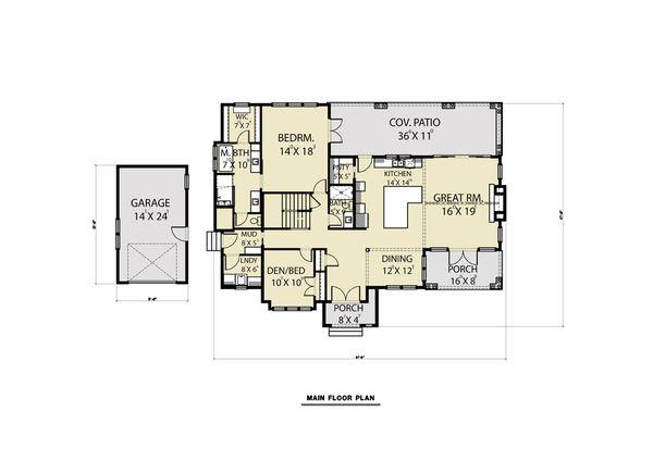 House Design - Cottage Floor Plan - Main Floor Plan #1070-61
