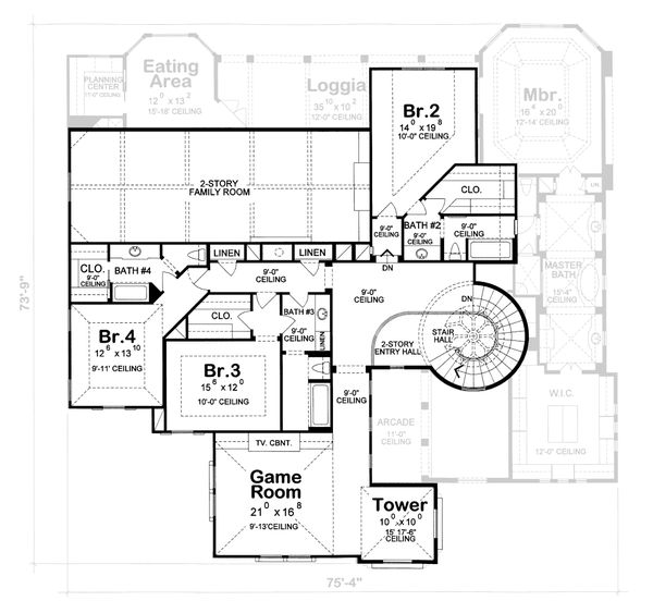 Mediterranean Floor Plan - Upper Floor Plan #20-1732