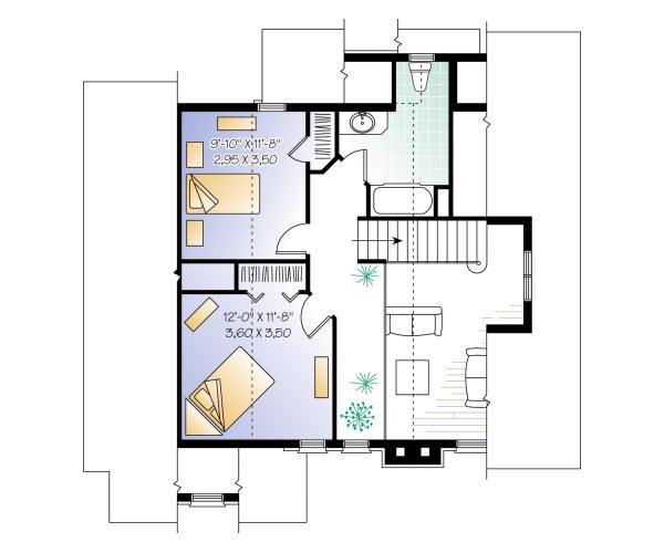 House Plan Design - Cottage Floor Plan - Upper Floor Plan #23-760