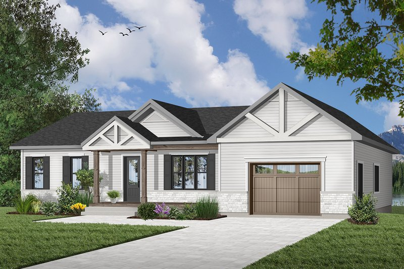 Ranch Style House Plan - 2 Beds 1 Baths 988 Sq/Ft Plan #23-2653