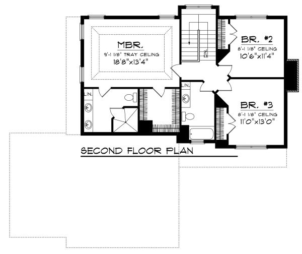 Craftsman Floor Plan - Upper Floor Plan Plan #70-1133