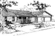 Ranch Style House Plan - 3 Beds 2 Baths 1488 Sq/Ft Plan #60-142 Exterior - Front Elevation