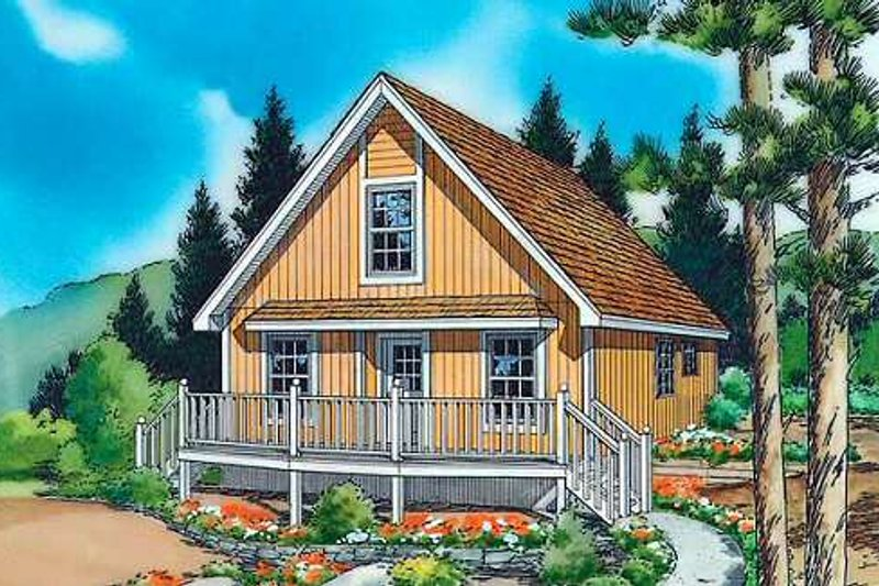 Country Style House Plan - 1 Beds 1 Baths 1003 Sq/Ft Plan #312-438