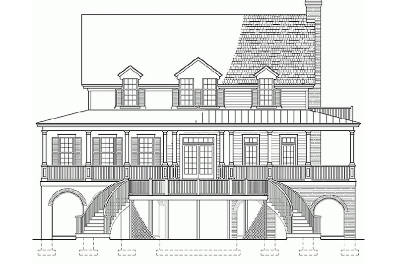 Southern Exterior - Rear Elevation Plan #137-254 - Houseplans.com