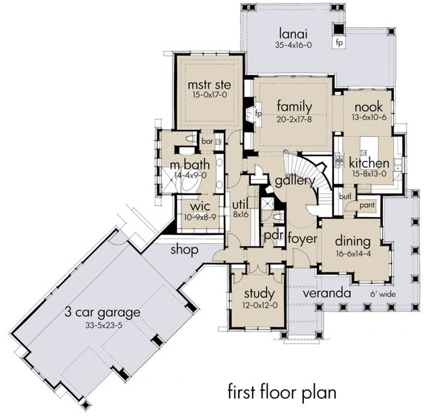 Craftsman Floor Plan - Main Floor Plan Plan #120-178