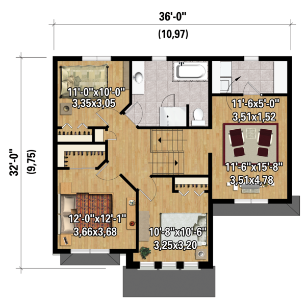 Country Floor Plan - Upper Floor Plan Plan #25-4299