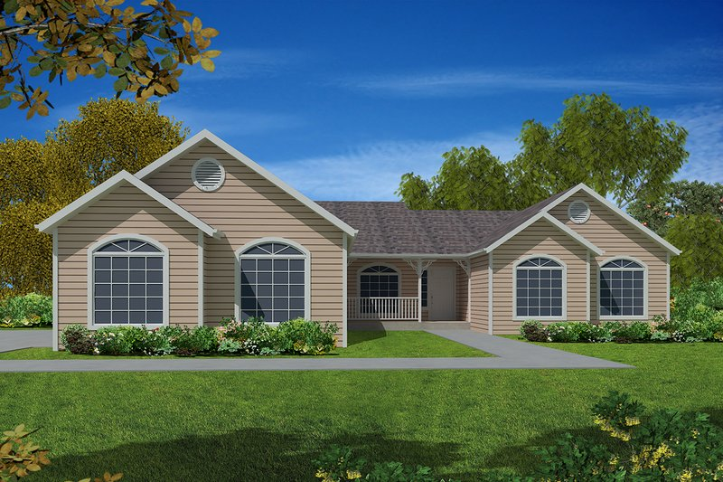 Ranch Exterior - Front Elevation Plan #437-67