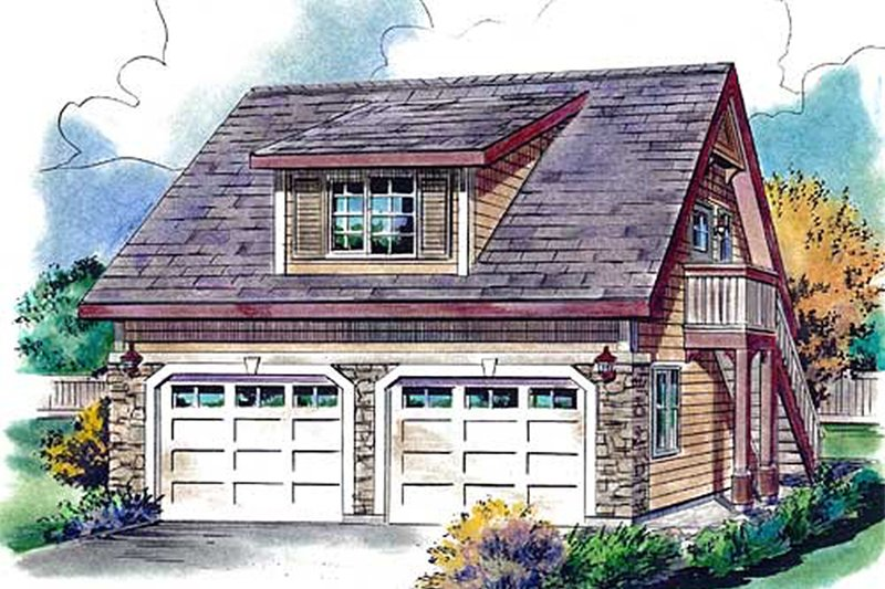 Bungalow Style House Plan - 1 Beds 1 Baths 459 Sq/Ft Plan #18-4527 Exterior - Front Elevation
