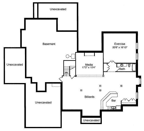 Traditional Floor Plan - Lower Floor Plan Plan #46-398